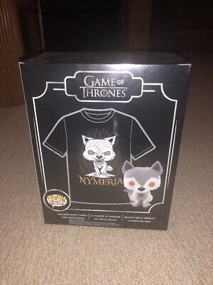 Nymeria (Game Of Thrones) Hot Topic Exclusive Shirt & Funko Pop LARGE SEALED
