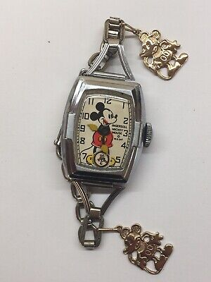 Vintage 1930s Ingersoll Mickey Mouse Wrist Watch Deluxe Charms Disney Runs Rare