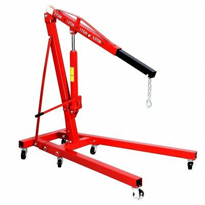2 Ton Hydraulic Engine Crane Folding Hoist Stand Mobile Garage Lifter Workshop
