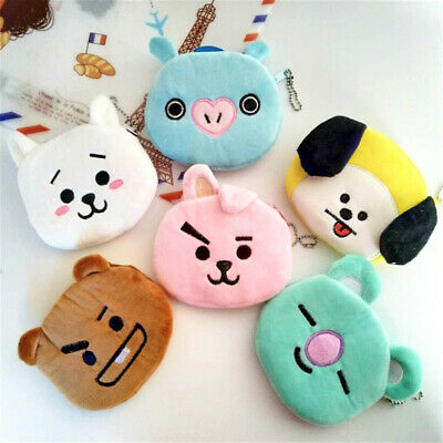 1X Fashion Mini BTS BT21 Kpop Stuffed Plush Doll Coin Zipper Wallet Case Purse