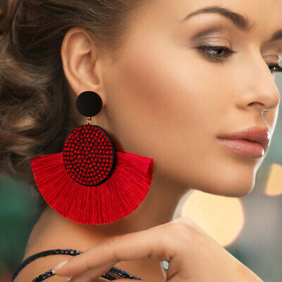 Tassel earrings women bohemian handmade geometric fringe rhinestone statement