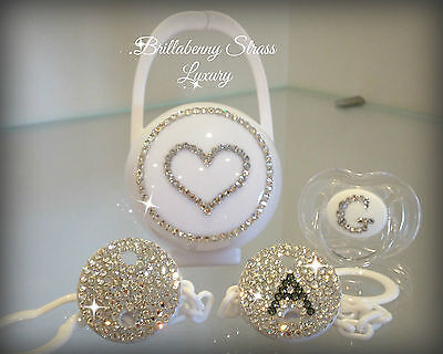 Baby Set White Luxury Catenina + Ciuccio + Portaciuccio / Clips + Pacifier + Box