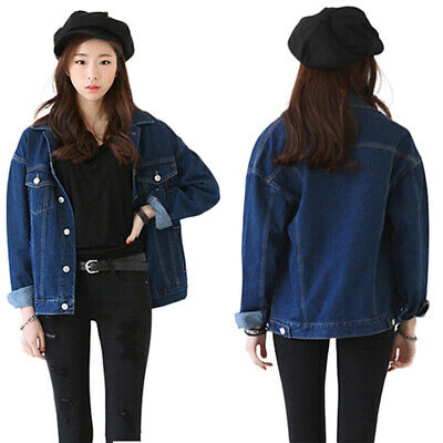 uk availability b73bf 62dcc DONNA GIACCA OVERSIZE Blu Jeans Casual Manica lungo Stile Denim Cappotto