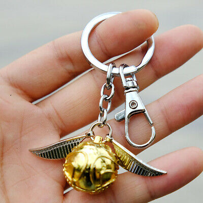 Harry Potter Quidditch Golden Snitch Metal Pendant Keychain Key Ring 6cm