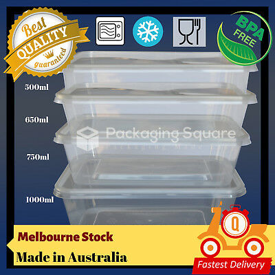 500,650,750,1000ml TAKE AWAY CONTAINERS & LIDS DISPOSABLE PLASTIC FOOD CONTAINER
