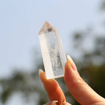 100% Natural Rock Clear Quartz Crystal Point Wand Healing Mineral Specimen Reiki