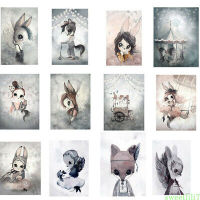 Modern Cartoon Rabbit Girl Canvas Wall Poster Art Painting Home Room Decorations
