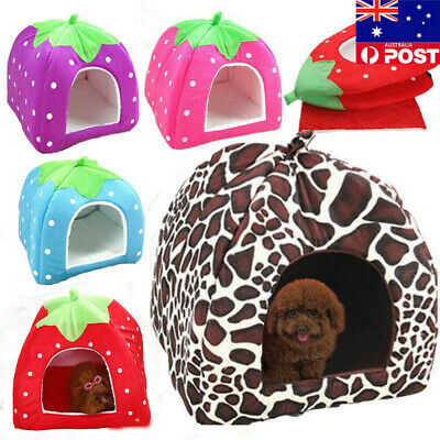 Cat Dog Pet's Nest Bed Basket Soft Warm Igloo Pyramid Cave House Puppy Fluff Bed