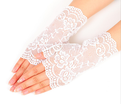 Concise Women Evening Bridal Wedding Party Dressy Lace Fingerless Gloves Mittens