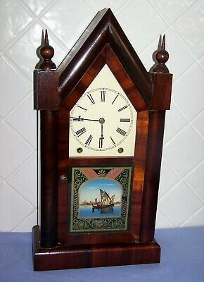 """Antique American New Haven 8 Day Mantle Clock """"Sharp Gothic"""" C1890"""