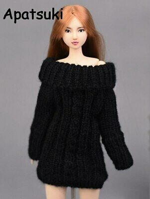 Black Knitted Woven Sweater For Barbie Doll Handmade Clothes Tops Coat Dress Toy