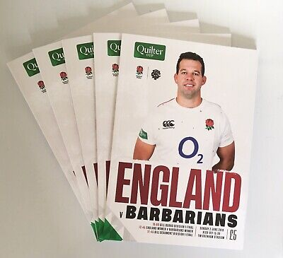 The Quilter Cup England vs Barbarians Rugby Union Programme [02/06/2019]