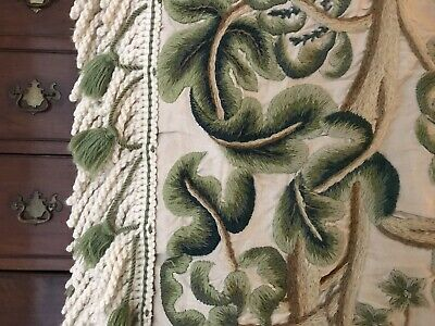 Large Antique Crewel Work Arts & Crafts Wool Embroidered Hanging Vines & Fruits