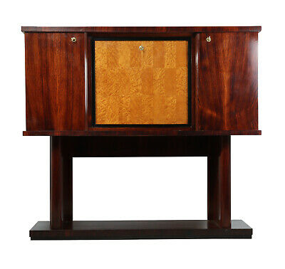 Italian Art Deco Cocktail Cabinet Rosewood and Birdseye Maple