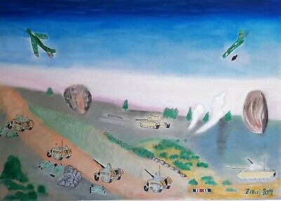 Original Oil painting Memories from 73 war attack at the morning