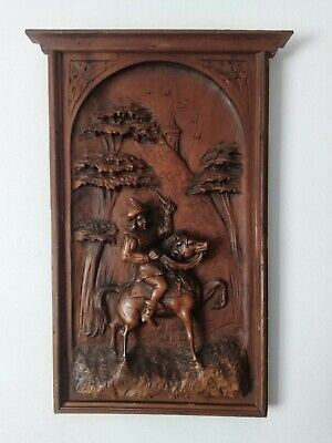Wonderful Antique French High Relief Carved Door Panel Wall Hanging Man & Horse