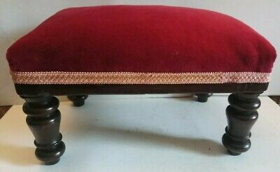 Victorian Turned Leg Rectangular Wooden Footstool Covered In A Cotton Velvet.