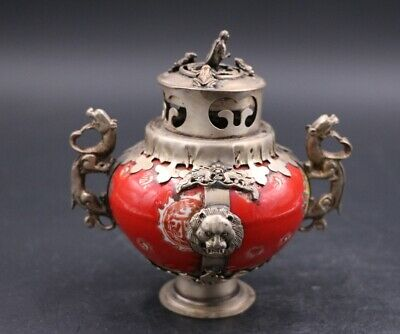 Chinese old porcelain inlaid Silver Dragon ear incense burner monkey lid