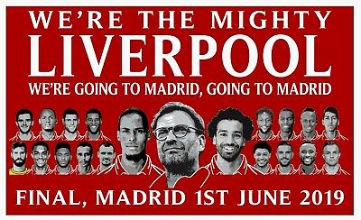 "Liverpool Flag Team Cup Final banner Madrid 2019 Large 60"" x 36"" free 1ST CLASS."