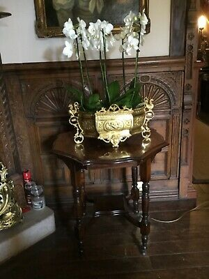 Large Ornate octagonal occasional side lamp coffee table