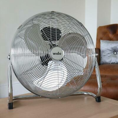 """18"""" Chrome Floor Fan Industrial High Velocity 3 Speed Commercial Stand - Wido"""