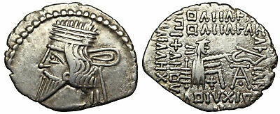KINGS of PARTHIA. Vologases III, AD 105-147. Silver Drachm.