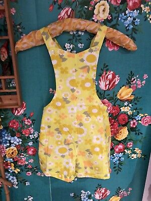 vintage childrens cuckoo brand 1970s flower power Deadstock Dungarees 7 -8 Yrs