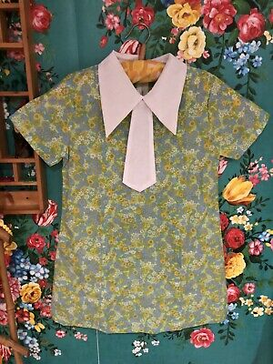 vintage childrens cuckoo brand 1970s flower power Deadstock Top 7 - 8 Yrs