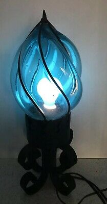 Rare! MCM Vintage Wrought Iron Overlay Hand Blown Glass Lamp Light Fixture Blue