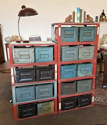 Stapelkisten Stapelbox Metall 70er  Industriedesign Schrank Loft vintage Regal 1