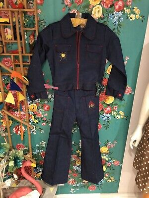 vintage childrens cuckoo brand 1970s flower power Deadstock Denim 2 Pc 7 - 8 Yrs