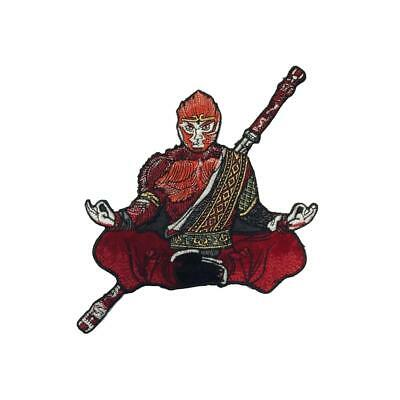 Meditating Samurai Guru (Sew On) Embroidery Applique Patch Sew Iron Badge