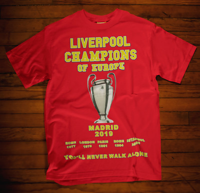 Liverpool Champions of Europe T-shirt Cup Klopp Winners Madrid 2019 6 Times