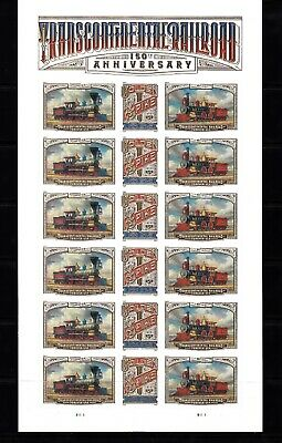 USA PANE FOREVER 2019 NEW TRANSCONTINENTAL RAILROAD 150th ANNIVERSARY PANE OF 18