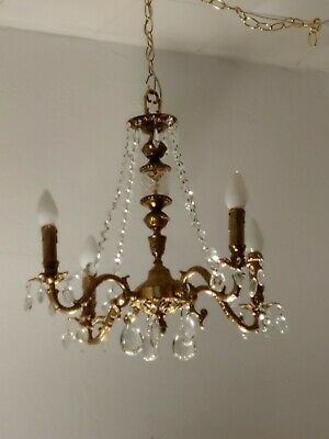 """Antique 4 arms French Brass Lead Crystal Chandelier 23"""" tall 28"""" diameter"""