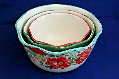 Set of 3 Pioneer Woman Nesting Bowls, Stoneware, Floral & Green Lace Patterns,