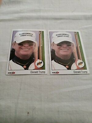 2 Donald Trump 1989 Style ACEO Baseball Art  Griffey Rookie Card Parody! MINT!