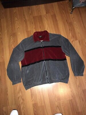 Vintage Men's Neiman Marcus Velour Track Jacket Made In USA SIZE XXL Red Black