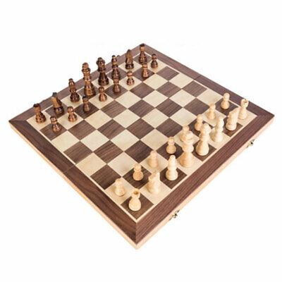Wooden Foldable International Chess Storage Box Funny Game Travel Portable