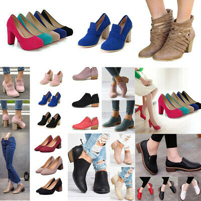 Lady Round Toe Block High Heels Pump Party Ankle Boots Slip On Shoes Casual Size