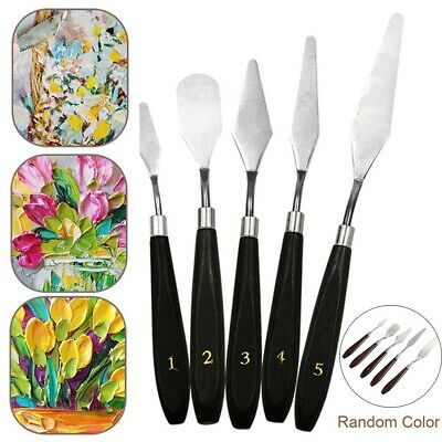 5Pcs Mixed Stainless Steel Palette Scraper Spatula Set for Artist Oil Paintin SU