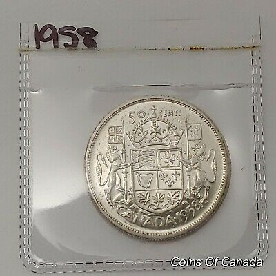 1958 Canada Silver 50 Cents Coin - Sealed In Acid-Free Package #coinsofcanada