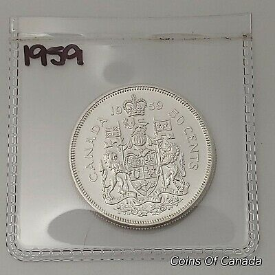 1959 Canada Silver 50 Cents Coin - Sealed In Acid-Free Package #coinsofcanada