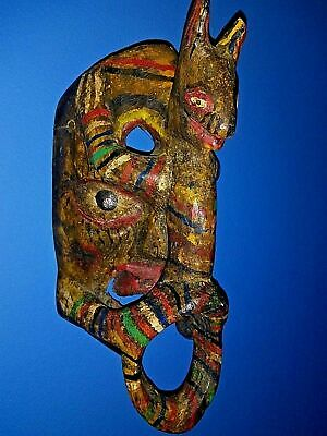 Vintage 70's Mexican Wood Hanging Mask Folk Art Hand Made/Painted Collectible