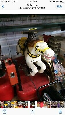 White Horse Coin Op Kiddie Ride Original Condition All Metal Cast Iron