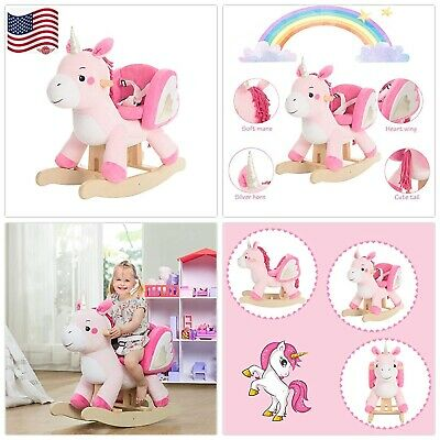 labebe - Baby Rocking Horse, Pink Ride Unicorn, Kid Ride On Toy for 1-3 Year Old