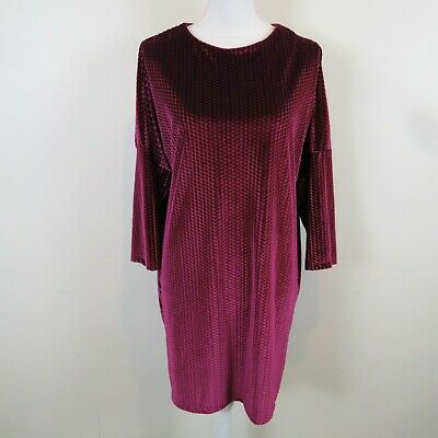 a0adc9aec61e Zara Collection Womens Size Large Pink Crushed Velvet Shift Dress 3/4 Sleeve