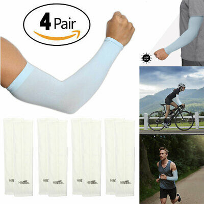 4 Pairs Unisex UV Protection Cooling Arm Sleeve UPF 50+ Sun Sleeves Men Women
