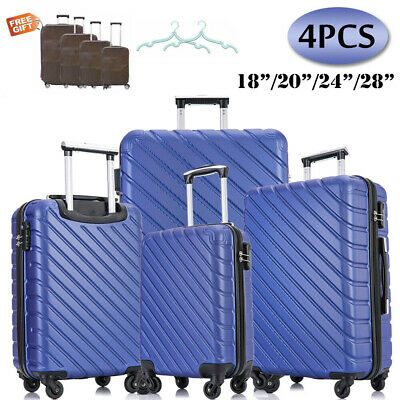 4PCS Hard Shell Luggage Set Travel ABS Bag Trolley Spinner Business Case Blue