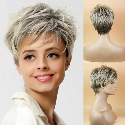 Lady Boy Cut Short Layered Pixie Wigs Straight Full Synthetic Wig for Women AU